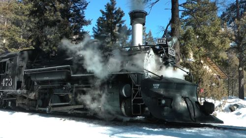 I just got back last night from a wonderful trip to Durango, Colorado.  I spent Thursday, Friday and Saturday video taping the Durango & Silverton Winter Train for Yard Goat Images.  In the winter months, the train only goes a little more than half way to Silverton, to the wye track at Cascade.  It stops here so everyone can stretch their legs and have a picnic lunch.