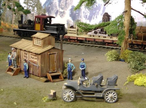 "The saws are photo-etched brass products that have incredible detail.  The figures in the dark blue coveralls are from Railroad Avenue.  They have a new line of O-scale figures that come fully painted, are very unique and full of ""character""."