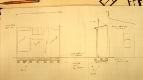 I purchased a Grandt Line Commercial Storefront kit, which basically consists of the windows and doors for the front of a store, with the option of creating a recessed entryway in the center.  I then designed the rest of of my store on graph paper in full quarter inch scale.