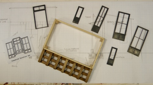 Here we have some of the door and window castings, and the Grandt Line sketch showing one way to assemble them.  I created a foundation for the store, and the sidewalk in front of it, from Monster Model Works aged brick sheet and scale 12 x 12 timbers.