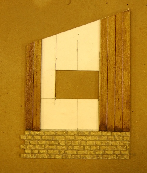 I used the construction technique of backing the walls with 1/16th inch thick Bristol Board that I got at Michael's.  On the inside of the Bristol Board, I put 1/4 inch square strips of basswood to resist warping.