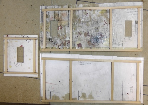 This illustrates the placement of the quarter inch square basswood strips that reinforce the walls on the back sides.