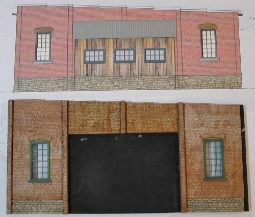 This is a comparison of the new wall height with the original drawing.  You can see that the position of the foundation, the shop, and the windows did not change.  the added inch was all in the space above the windows and the shop roof.
