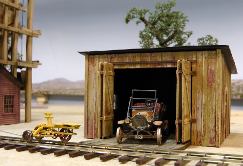 My latest project is this railcar and velocipede shed. The railcar and velocipede are cast metal kits; the shed is scratch-built.