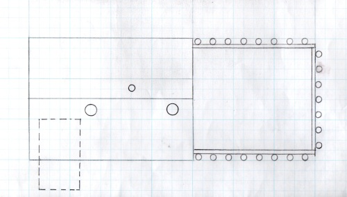 This is an overhead view of the plan.  The dotted line section is the location of the wooden tower.