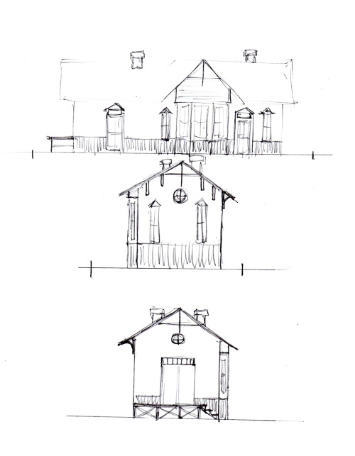 My next step is to make some free-hand rough sketches to determine how I want to arrange the features of the structure.