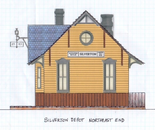 The depot at Silverton sits at roughly a 45˚ angle to true north, so that's why I labeled my sides the way I did.