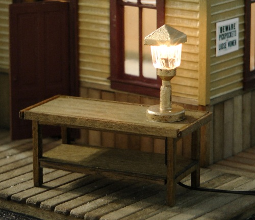 I made a table lamp from an HO scale streetlight by just using the base and the top, and painting them kind of brassy.