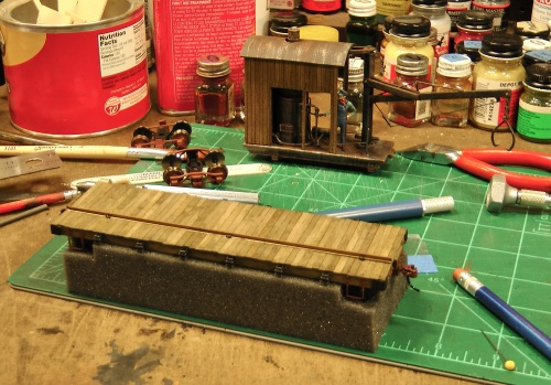 The next step in the process was to scratch-build a flatcar to carry the steam log loader.  I've detailed my process for doing this