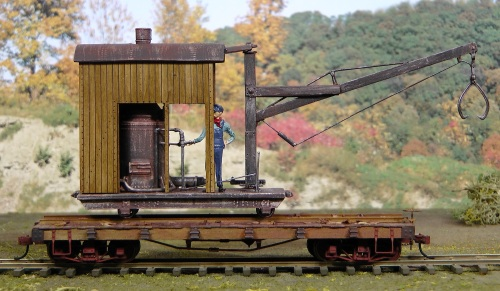 Here is a straight side view of the finished loader on its flat car.
