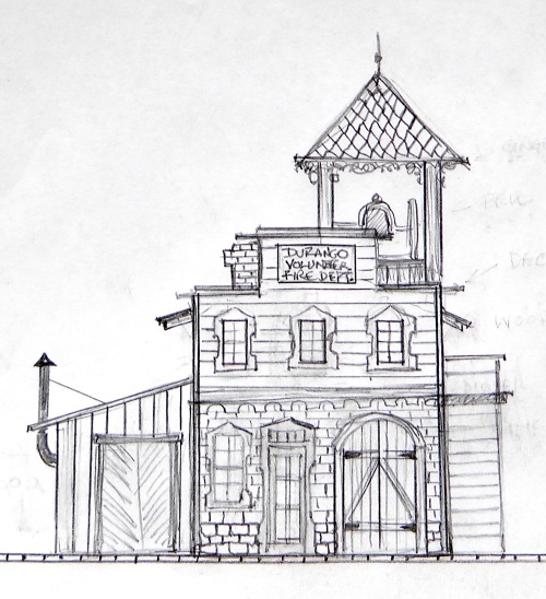 It has always been a plan of mine to have a Fire Hall in Durango.  One of the first things I do in designing scratch-built structures is to make a rough sketch.  This helps me to organize my basic ideas and see how the various elements I'm thinking about would fir together.
