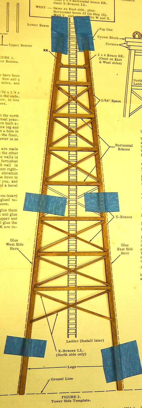 As I started construction I became aware that the tower, which was 11 inches tall in HO scale would be nearly 22 inches tall in O scale.  That just seemed awfully large for my the space I had allotted on my layout.
