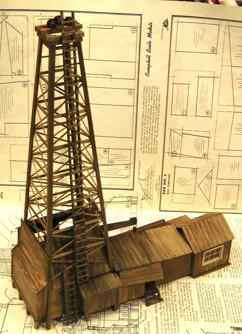 At this stage, the derrick is pretty well finished, and some weathering has been added.