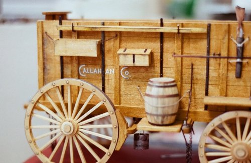 Opposite side view of nice wood model of ore wagon.