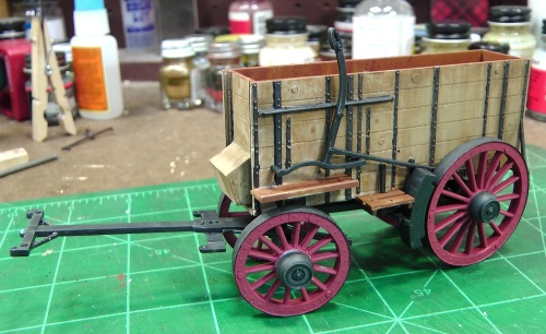 It's not finished yet, and I'll use a four mule team with it, but here is my wagon so far.