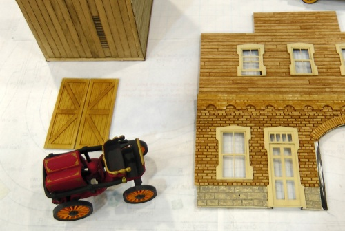 Here's a closer look at the laser cut brickwork and wood siding from Jimmy at Monster Model Works.