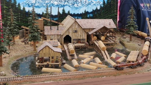 This is an HO scale logging diorama.