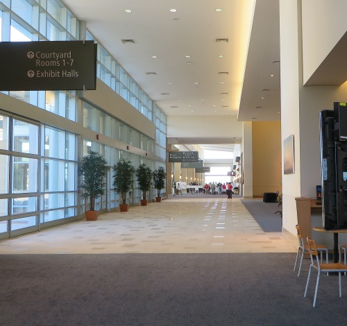 The main registration/information desk was in the west-facing foyer of the center.