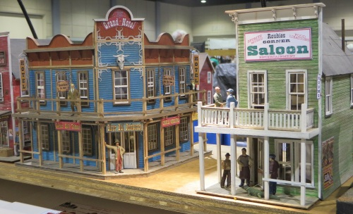 Banta Modelworks had many of their fine laser cut structure models on display.