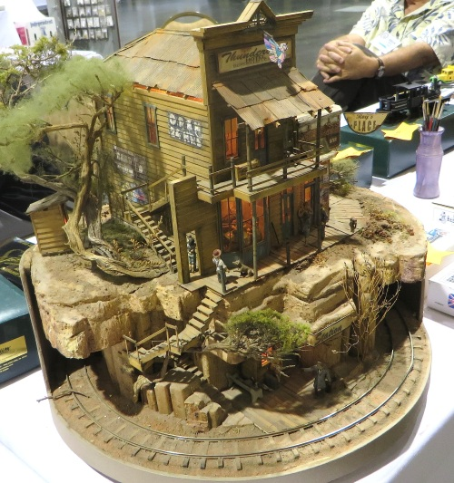 Dozens of modular layouts adorned the exhibit hall.  Although not modular, this tiny jewel of a layout has to be one of the smallest working layouts I've ever seen.
