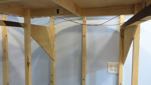 First I installed the wall supports at the revised height.