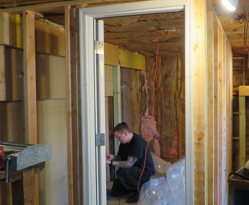 With the help of my friend, Collin Ludwig, we bagan framing in the walls of the 6 foot by 11 foot space that will become my all-weather garage workshop.