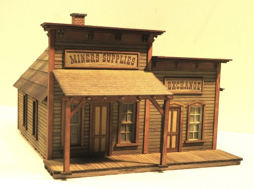 A larger S-scale kit is this Miner's Supply and Exchange complex, also by Wild West Scale Model Builders.