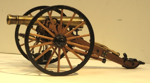 "These final two kits took the most time to construct. They are sold separately, but go together to form a cannon with its accompanying limber. The 1:16 scale models are by Guns of History/Model Shipways, and represent a James Cannon, 6 pounder, Model 1841. These guns were used in the Civil War. The cannon measures approximately 8"" long by 4.25"" wide, and has wood, brass and cast metal parts, just like many model railroad craftsman kits."